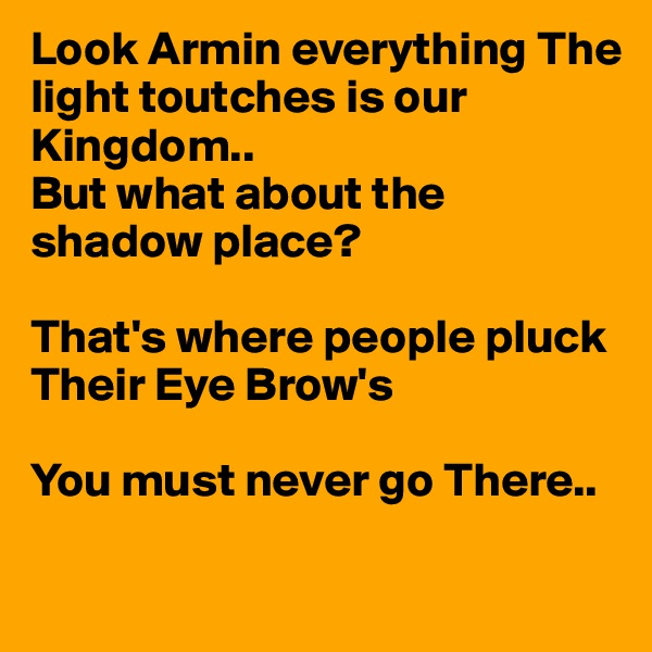 Look Armin everything The light toutches is our Kingdom.. But what about the shadow place?  That's where people pluck  Their Eye Brow's  You must never go There..