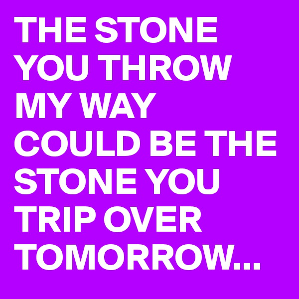 THE STONE YOU THROW MY WAY COULD BE THE STONE YOU TRIP OVER TOMORROW...