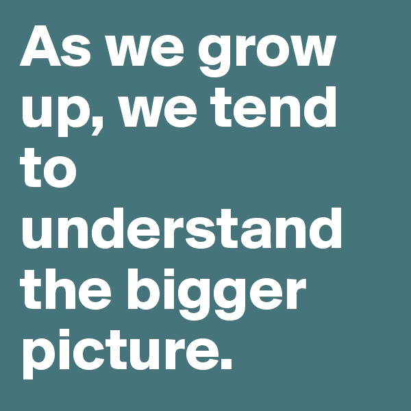As we grow up, we tend to understand the bigger picture.
