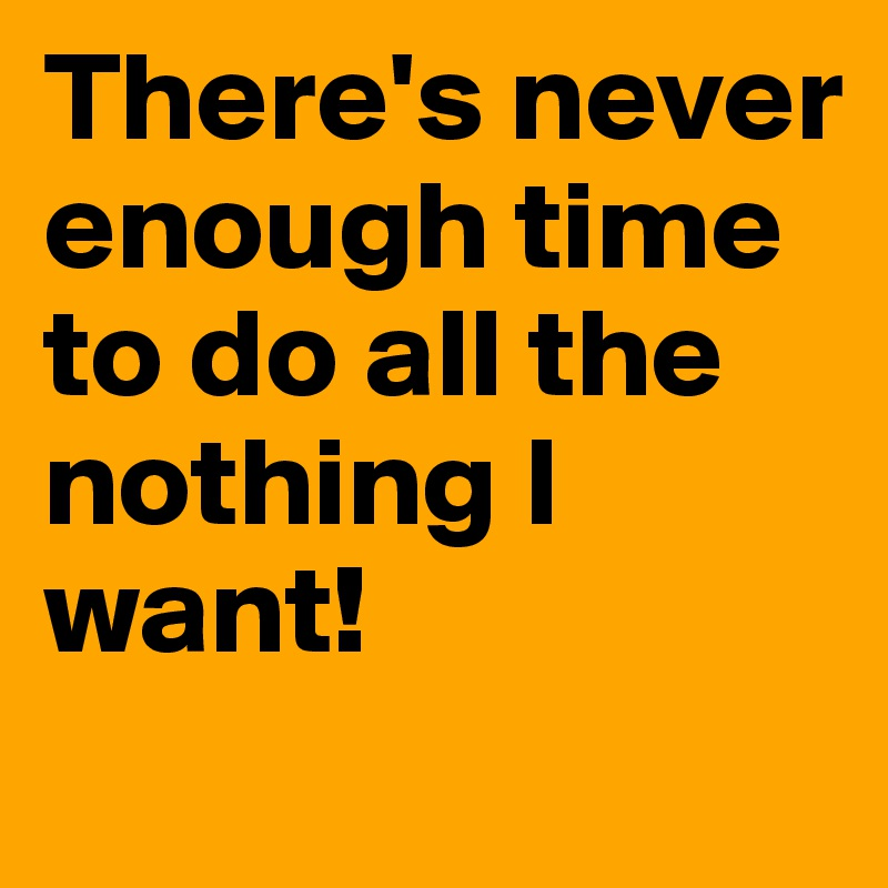 There's never enough time to do all the nothing I want!