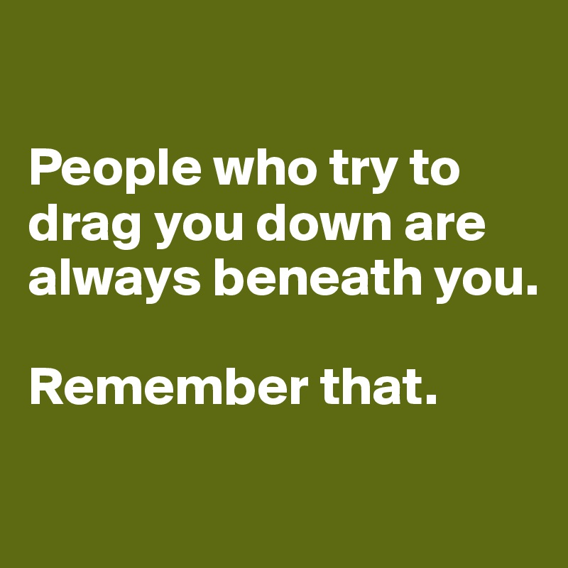 People who try to drag you down are always beneath you.   Remember that.