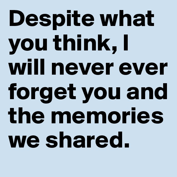 Despite what you think, I will never ever forget you and the memories we shared.