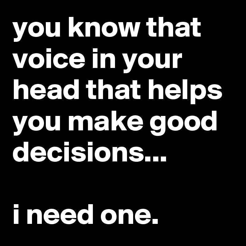 you know that voice in your head that helps you make good decisions...  i need one.