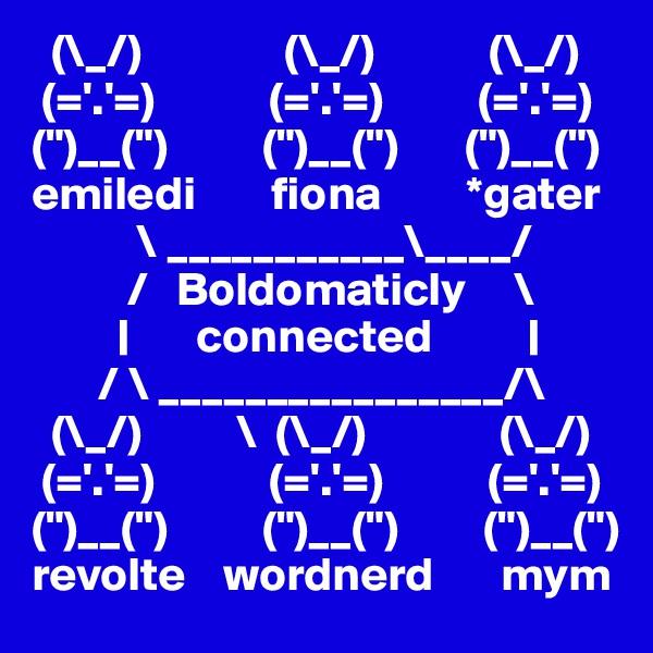 "(\_/)               (\_/)            (\_/)  (='.'=)            (='.'=)          (='.'=) ("")__("")          ("")__("")       ("")__("") emiledi        fiona         *gater            \ ___________\____/           /   Boldomaticly     \          |       connected          |        / \ ________________/\   (\_/)          \  (\_/)              (\_/)  (='.'=)            (='.'=)           (='.'=) ("")__("")          ("")__("")         ("")__("") revolte    wordnerd       mym"
