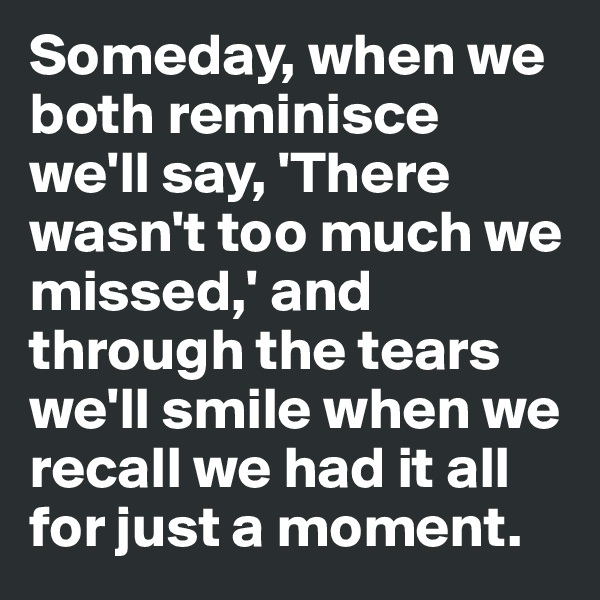 Someday, when we both reminisce we'll say, 'There wasn't too much we missed,' and through the tears we'll smile when we recall we had it all for just a moment.