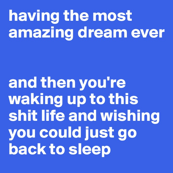 having the most amazing dream ever   and then you're waking up to this shit life and wishing you could just go back to sleep