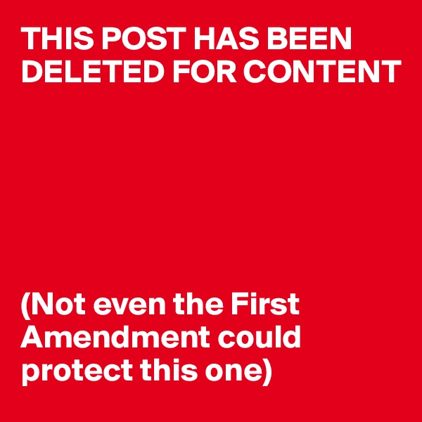THIS POST HAS BEEN DELETED FOR CONTENT       (Not even the First Amendment could protect this one)