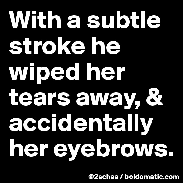 With a subtle stroke he wiped her tears away, & accidentally her eyebrows.