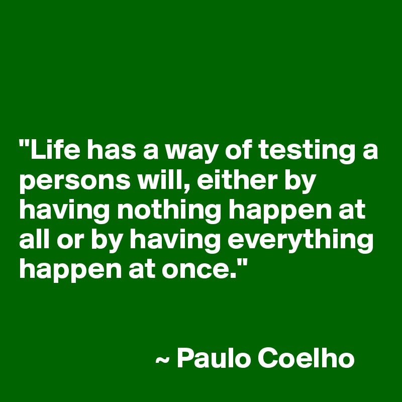 """""""Life has a way of testing a persons will, either by having nothing happen at all or by having everything happen at once.""""                          ~ Paulo Coelho"""