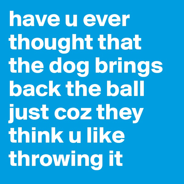 have u ever thought that the dog brings  back the ball just coz they think u like throwing it