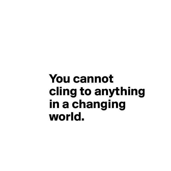 You cannot                 cling to anything                 in a changing                 world.