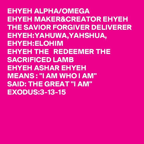"EHYEH ALPHA/OMEGA EHYEH MAKER&CREATOR EHYEH THE SAVIOR FORGIVER DELIVERER  EHYEH:YAHUWA,YAHSHUA, EHYEH:ELOHIM EHYEH THE   REDEEMER THE SACRIFICED LAMB  EHYEH ASHAR EHYEH  MEANS : ""I AM WHO I AM"" SAID: THE GREAT ""I AM"" EXODUS:3-13-15"