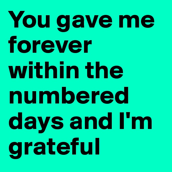 You gave me forever within the numbered days and I'm grateful