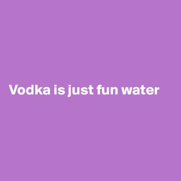 Vodka is just fun water