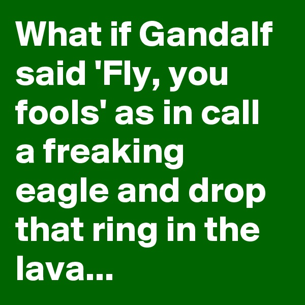 What if Gandalf said 'Fly, you fools' as in call a freaking eagle and drop that ring in the lava...