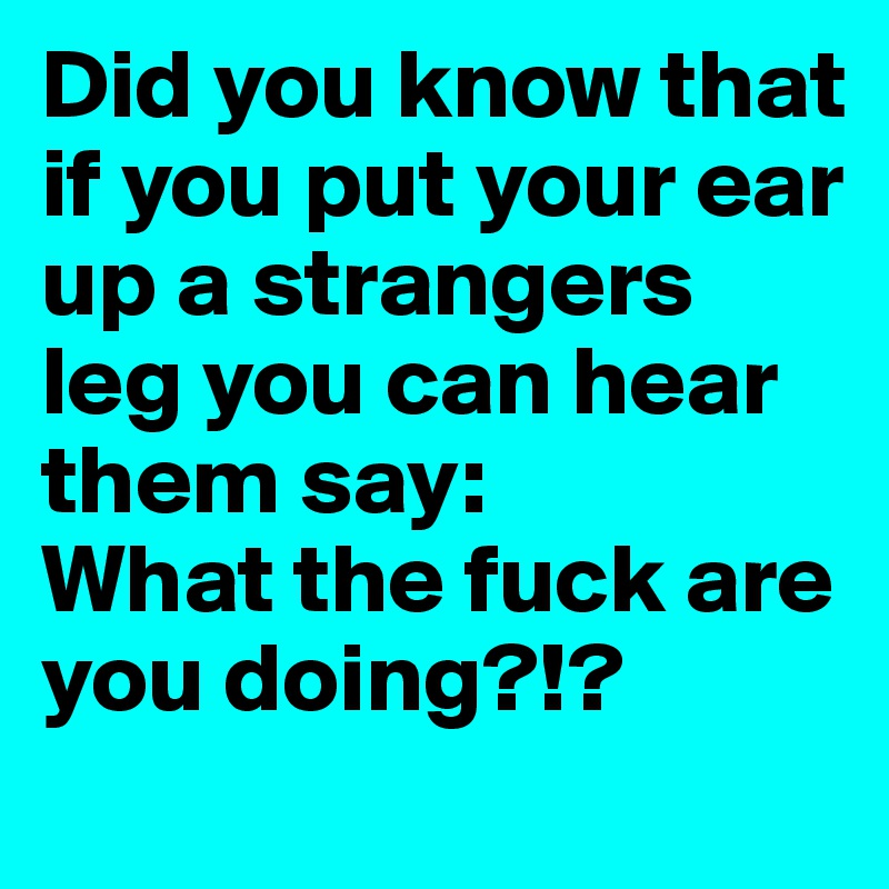 Did you know that if you put your ear up a strangers leg you can hear them say: What the fuck are you doing?!?