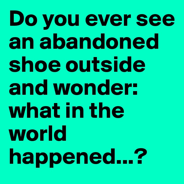 Do you ever see an abandoned shoe outside and wonder: what in the world happened...?