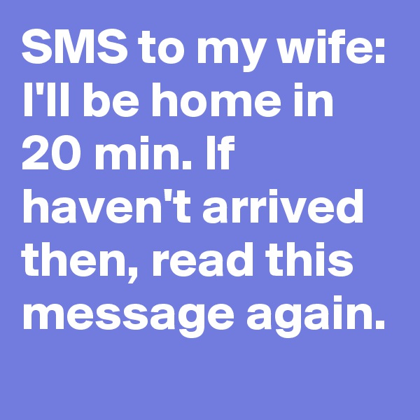 SMS to my wife: I'll be home in 20 min. If haven't arrived then, read this message again.
