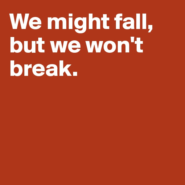 We might fall, but we won't break.