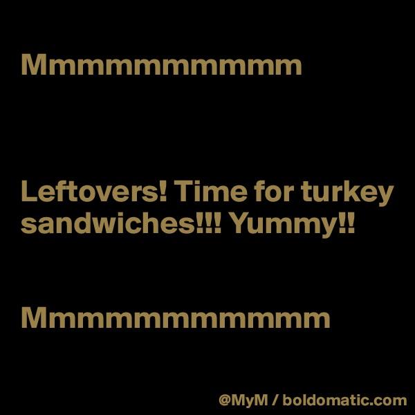 Mmmmmmmmmm     Leftovers! Time for turkey sandwiches!!! Yummy!!   Mmmmmmmmmmm