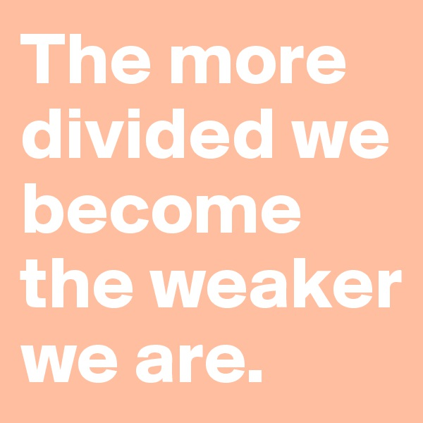The more divided we become the weaker we are.