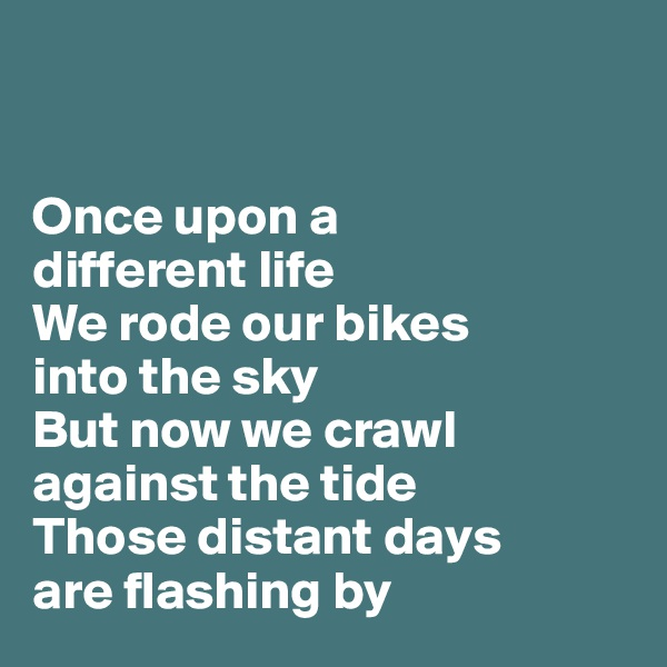 Once upon a  different life We rode our bikes  into the sky  But now we crawl against the tide Those distant days  are flashing by