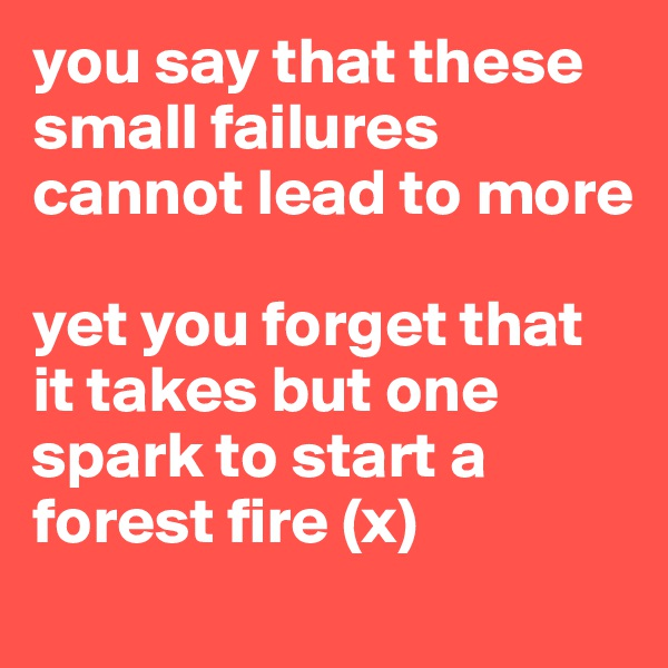 you say that these small failures cannot lead to more   yet you forget that it takes but one spark to start a forest fire (x)