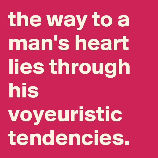 the way to a man's heart lies through his voyeuristic tendencies.