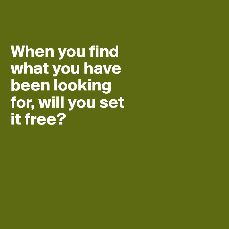 When you find  what you have  been looking  for, will you set  it free?