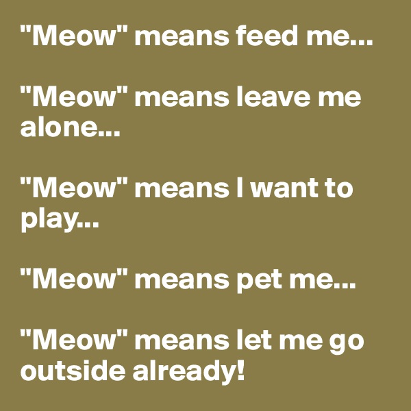 """""""Meow"""" means feed me...  """"Meow"""" means leave me alone...  """"Meow"""" means I want to play...  """"Meow"""" means pet me...  """"Meow"""" means let me go outside already!"""