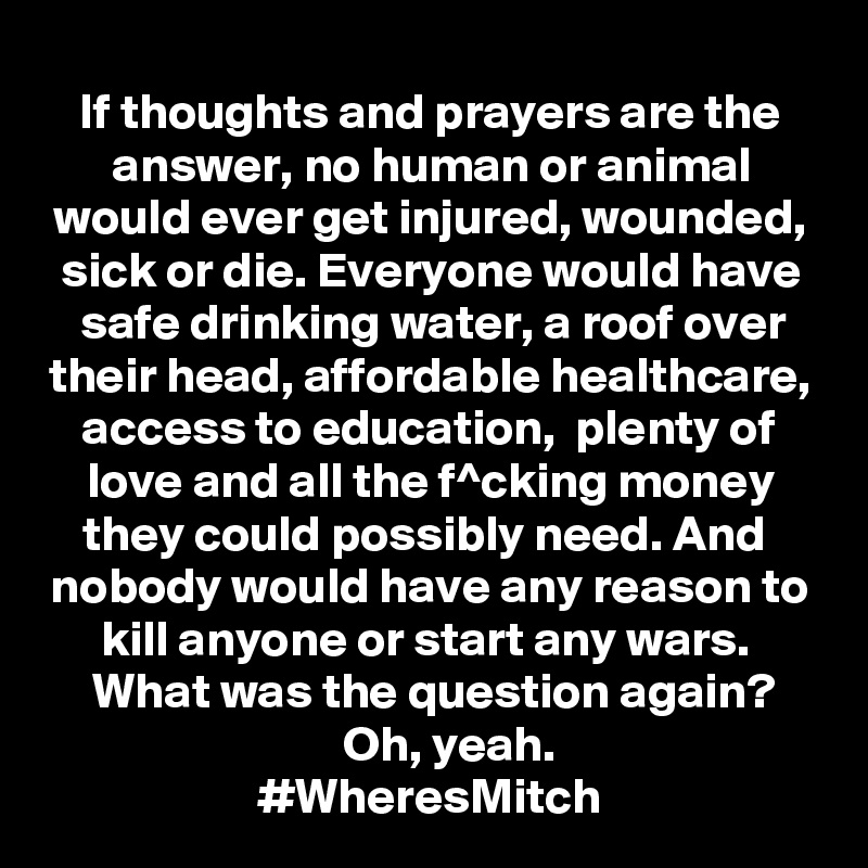 If thoughts and prayers are the answer, no human or animal
