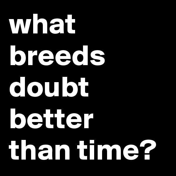 what breeds doubt better than time?