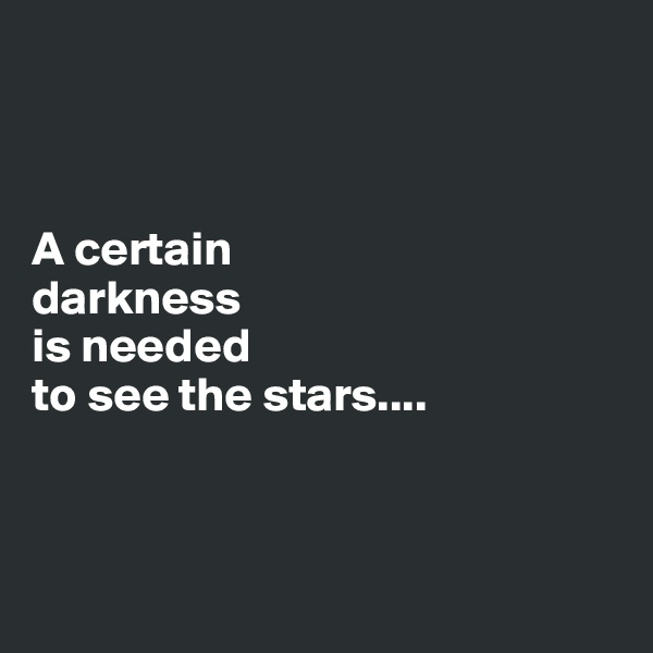 A certain   darkness   is needed  to see the stars....