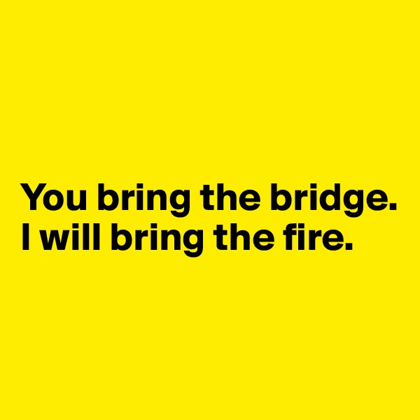 You bring the bridge.  I will bring the fire.