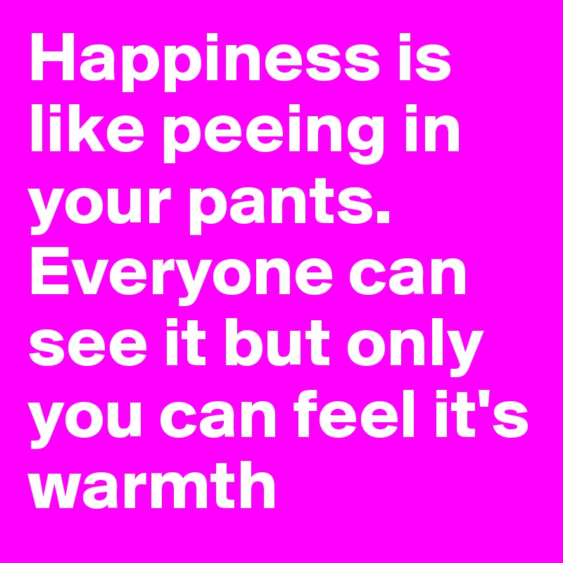 Happiness is like peeing in your pants. Everyone can see it but only you can feel it's warmth