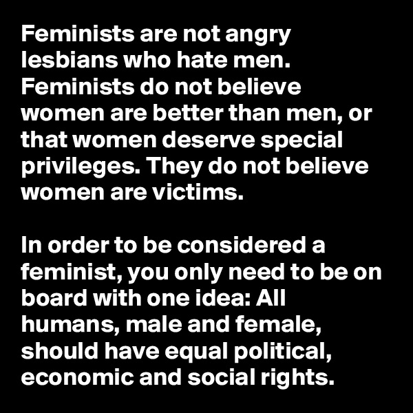 Feminists are not angry lesbians who hate men. Feminists do not believe women are better than men, or that women deserve special privileges. They do not believe women are victims.  In order to be considered a feminist, you only need to be on board with one idea: All humans, male and female, should have equal political, economic and social rights.
