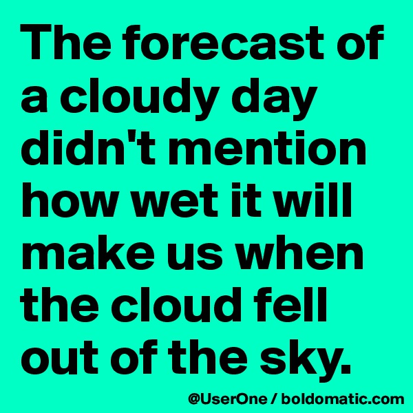 The forecast of a cloudy day didn't mention how wet it will make us when the cloud fell out of the sky.