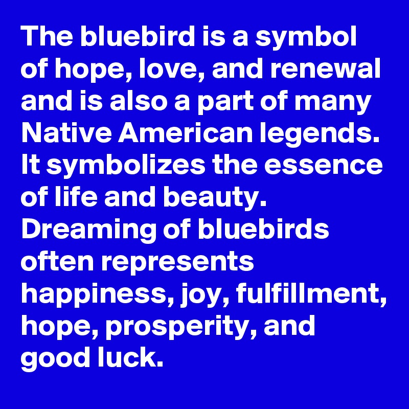 The bluebird is a symbol of hope, love, and renewal and is also a part of many Native American legends. It symbolizes the essence of life and beauty. Dreaming of bluebirds often represents happiness, joy, fulfillment, hope, prosperity, and good luck.