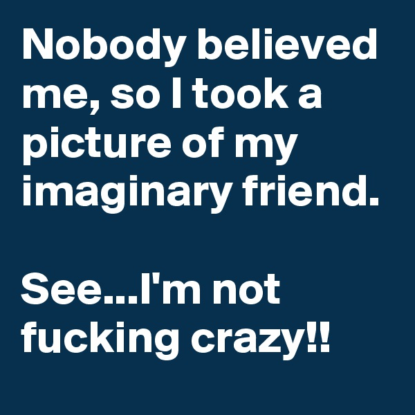 Nobody believed me, so I took a picture of my imaginary friend.  See...I'm not fucking crazy!!