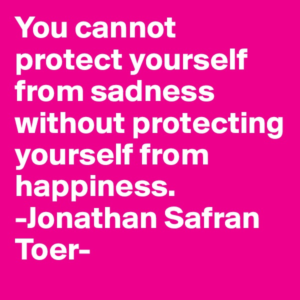 You cannot protect yourself from sadness without protecting yourself from happiness. -Jonathan Safran Toer-