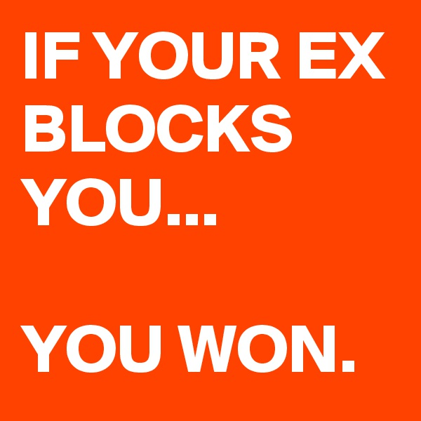 IF YOUR EX BLOCKS YOU...  YOU WON.