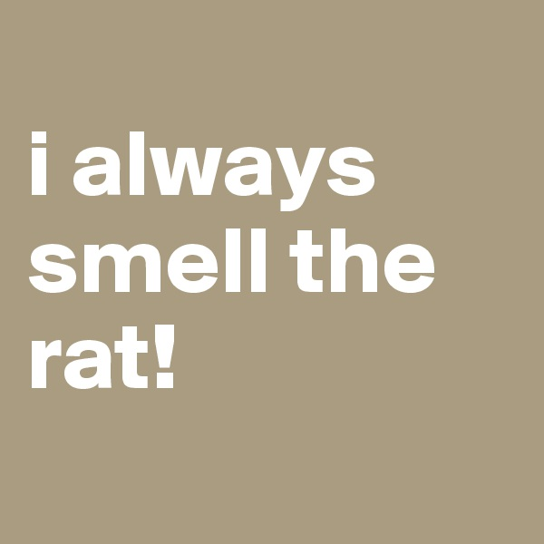i always smell the rat!