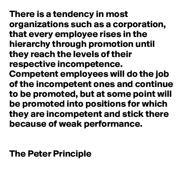 There is a tendency in most organizations such as a corporation, that every employee rises in the hierarchy through promotion until they reach the levels of their respective incompetence.  Competent employees will do the job of the incompetent ones and continue to be promoted, but at some point will be promoted into positions for which they are incompetent and stick there because of weak performance.   The Peter Principle