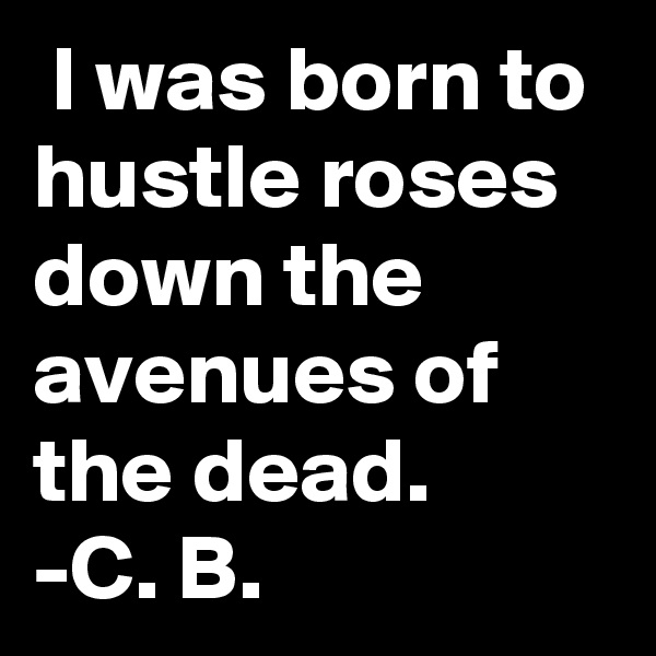 I was born to hustle roses down the avenues of the dead. -C. B.