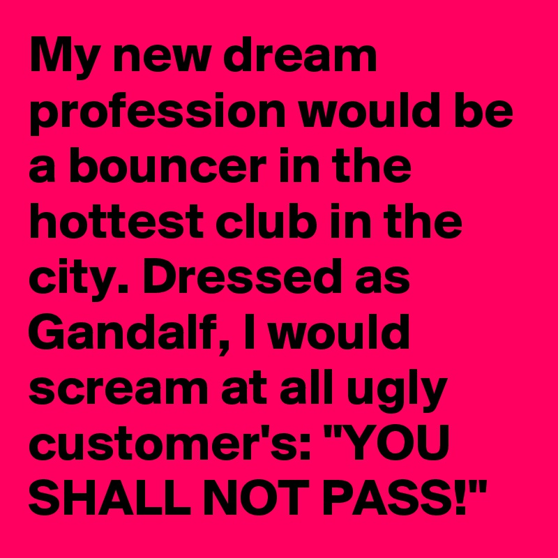 """My new dream profession would be a bouncer in the hottest club in the city. Dressed as Gandalf, I would scream at all ugly customer's: """"YOU SHALL NOT PASS!"""""""
