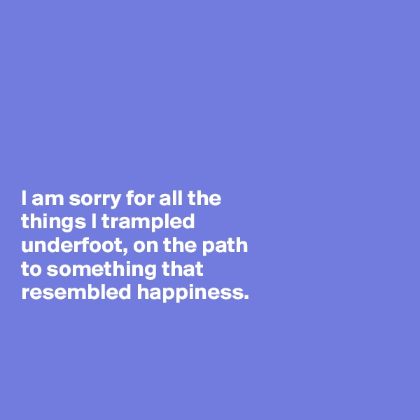 I am sorry for all the  things I trampled  underfoot, on the path  to something that  resembled happiness.