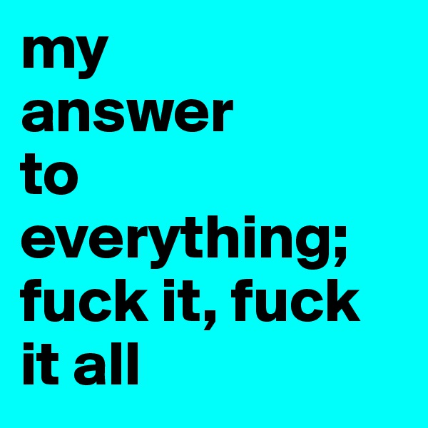 my  answer  to          everything; fuck it, fuck it all