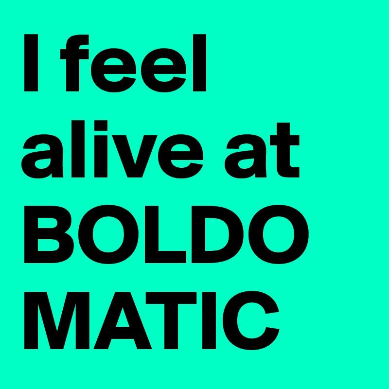 I feel alive at BOLDOMATIC