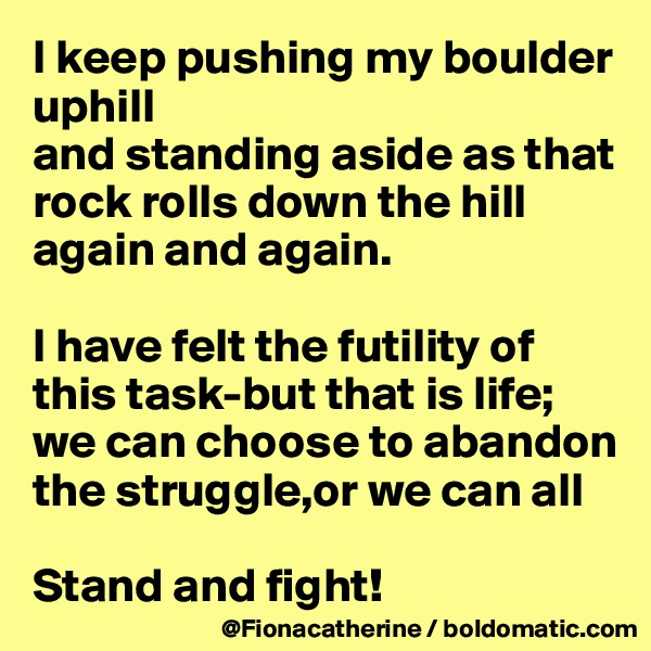 I keep pushing my boulder uphill and standing aside as that rock rolls down the hill again and again.  I have felt the futility of this task-but that is life; we can choose to abandon  the struggle,or we can all  Stand and fight!