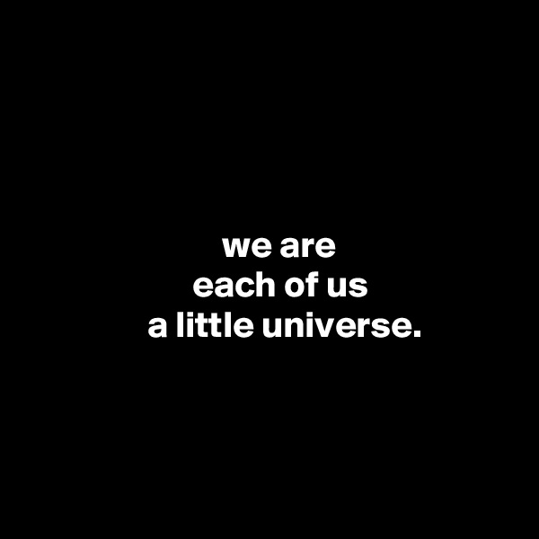 we are                       each of us                 a little universe.